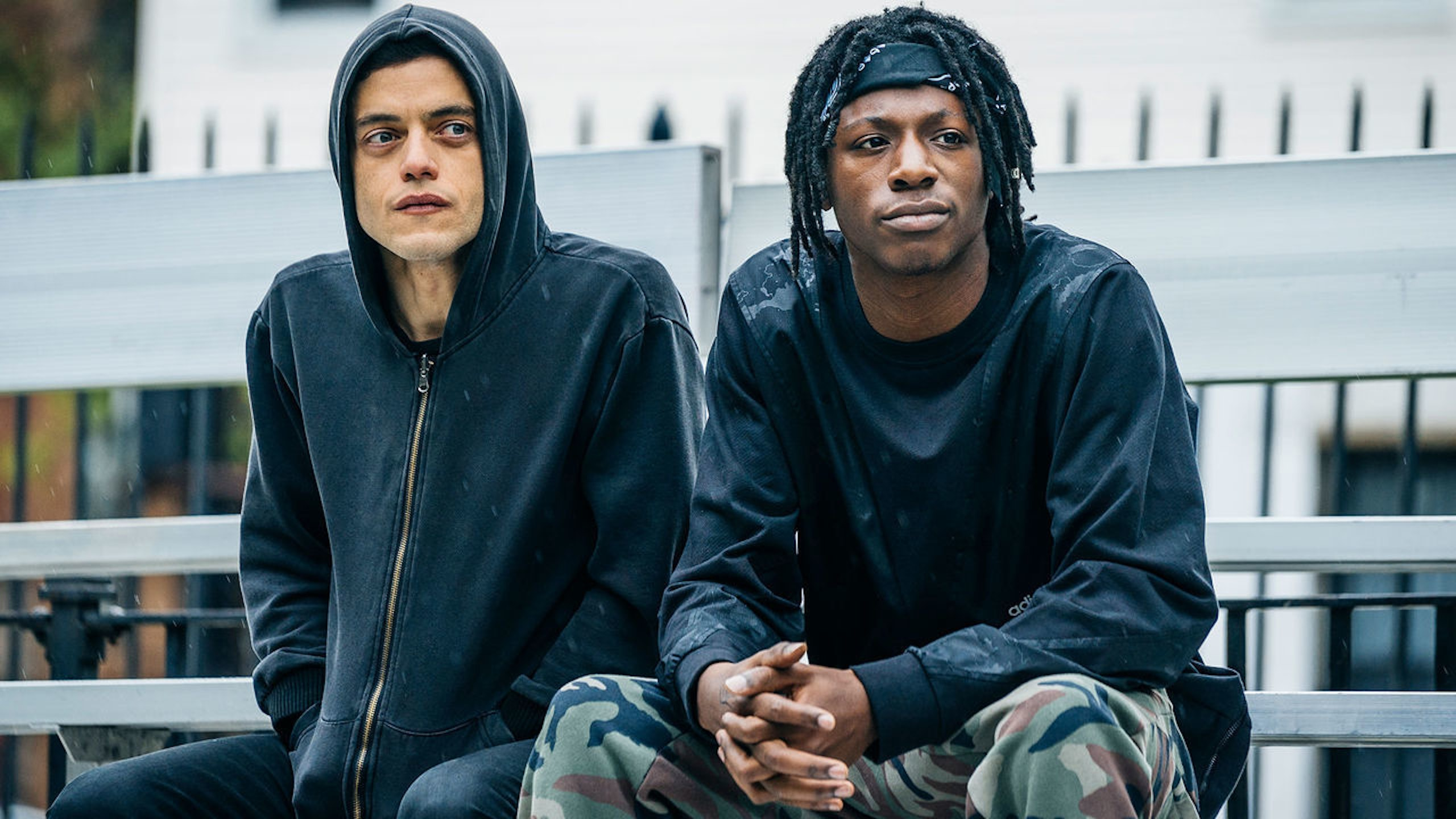 Elliot (left, played by Rami Malek) and Leon (right. played by Joey Badass) in Season 2 of 'Mr. Robot.'