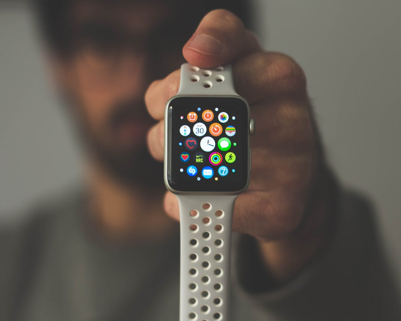 The Apple Watch home screen.