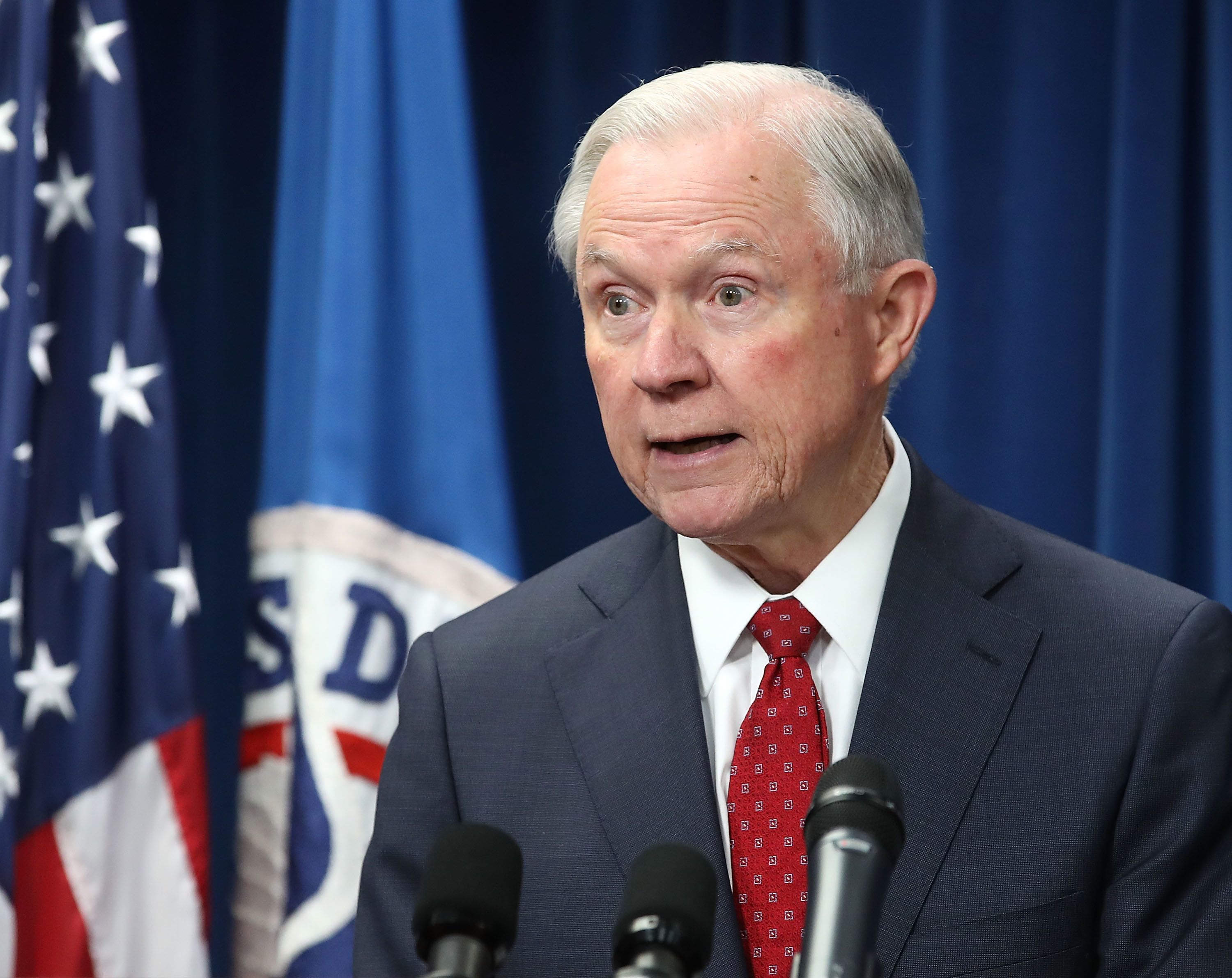 """Attorney General Jeff Sessions believes marijuana is only """"slightly"""" less worse than heroin."""