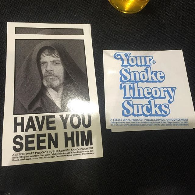 Steele Saunders has made a Luke Skywalker missing-persons sticker, too.