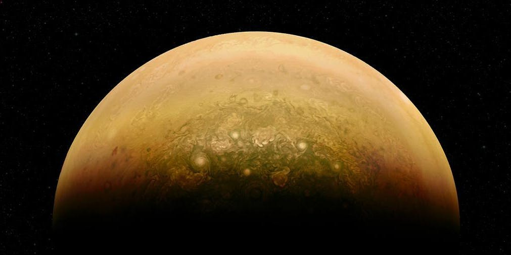Jupiter swirling atmosphere junocam