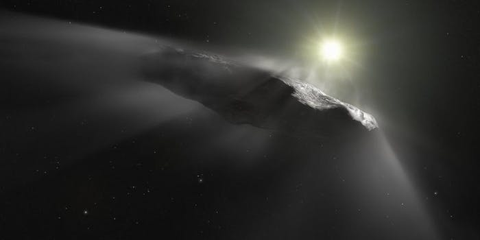 An artist's depiction of interstellar object 'Oumuamua