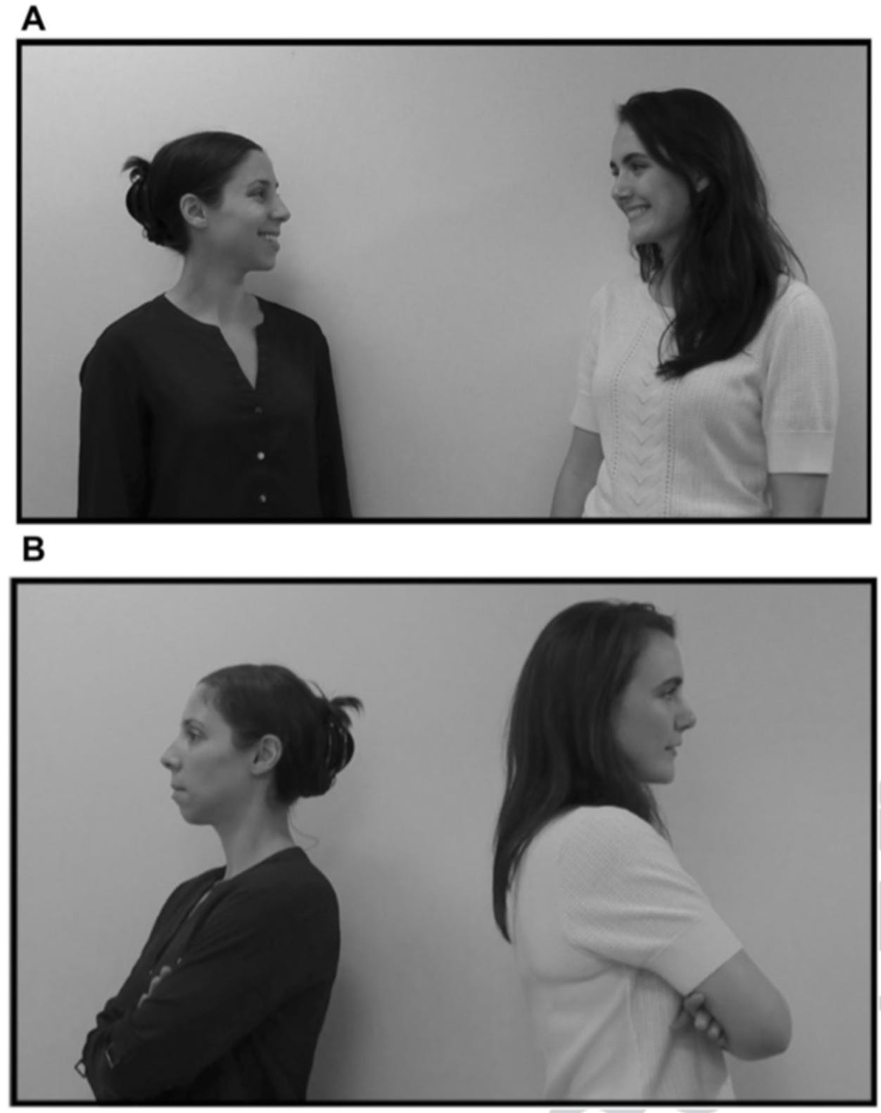 Babies noticed when videos of people acting like friends (A) or strangers (B) didn't match up with the audio recordings of laughter.