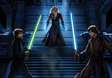 Luke on Luuke action. Art by Chris Scalf via the Star Wars wiki