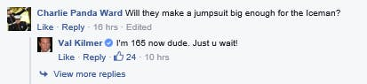 Val Kilmer's Facebook announcement turned into a candid conversation between Kilmer and his fan base.