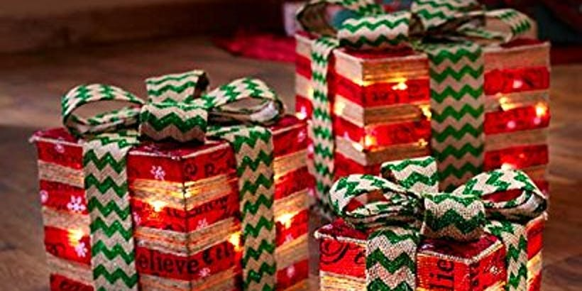 Lighted Decorative Gift Boxes Holiday Home Gifts