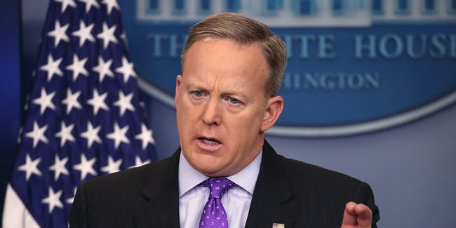 WASHINGTON, DC - FEBRUARY 08: White House Press Secretary Sean Spicer takes questions from reporters during the daily press briefing at the White House February 8, 2017 in Washington, DC. Spicer fielded questions about President Donald Trump's executive order travel ban, his effort to replace Obamacare and other topics   (Photo by Mark Wilson/Getty Images)