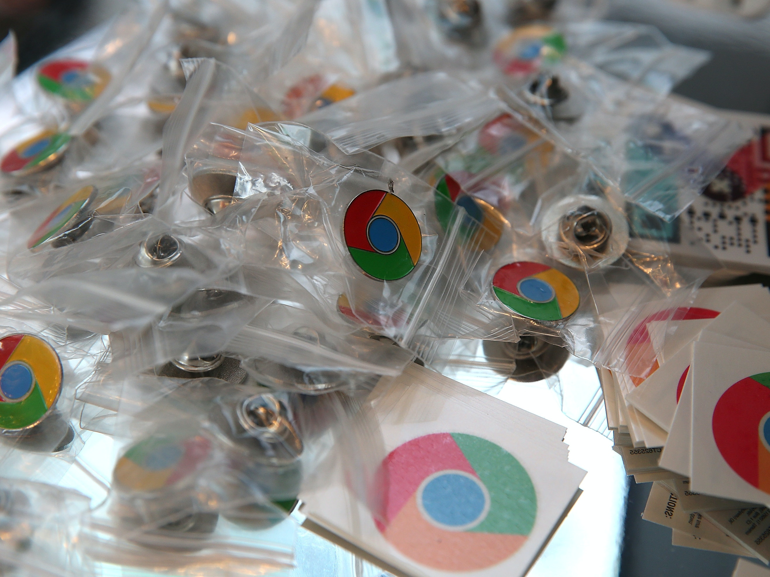SAN FRANCISCO, CA - MAY 15:  Google Chrome pins and stickers are displayed during the Google I/O developers conference at the Moscone Center on May 15, 2013 in San Francisco, California. Thousands are expected to attend the 2013 Google I/O developers conference that runs through May 17. At the close of the markets today Google shares were at all-time record high at $916 a share, up 3.3 percent.  (Photo by Justin Sullivan/Getty Images)
