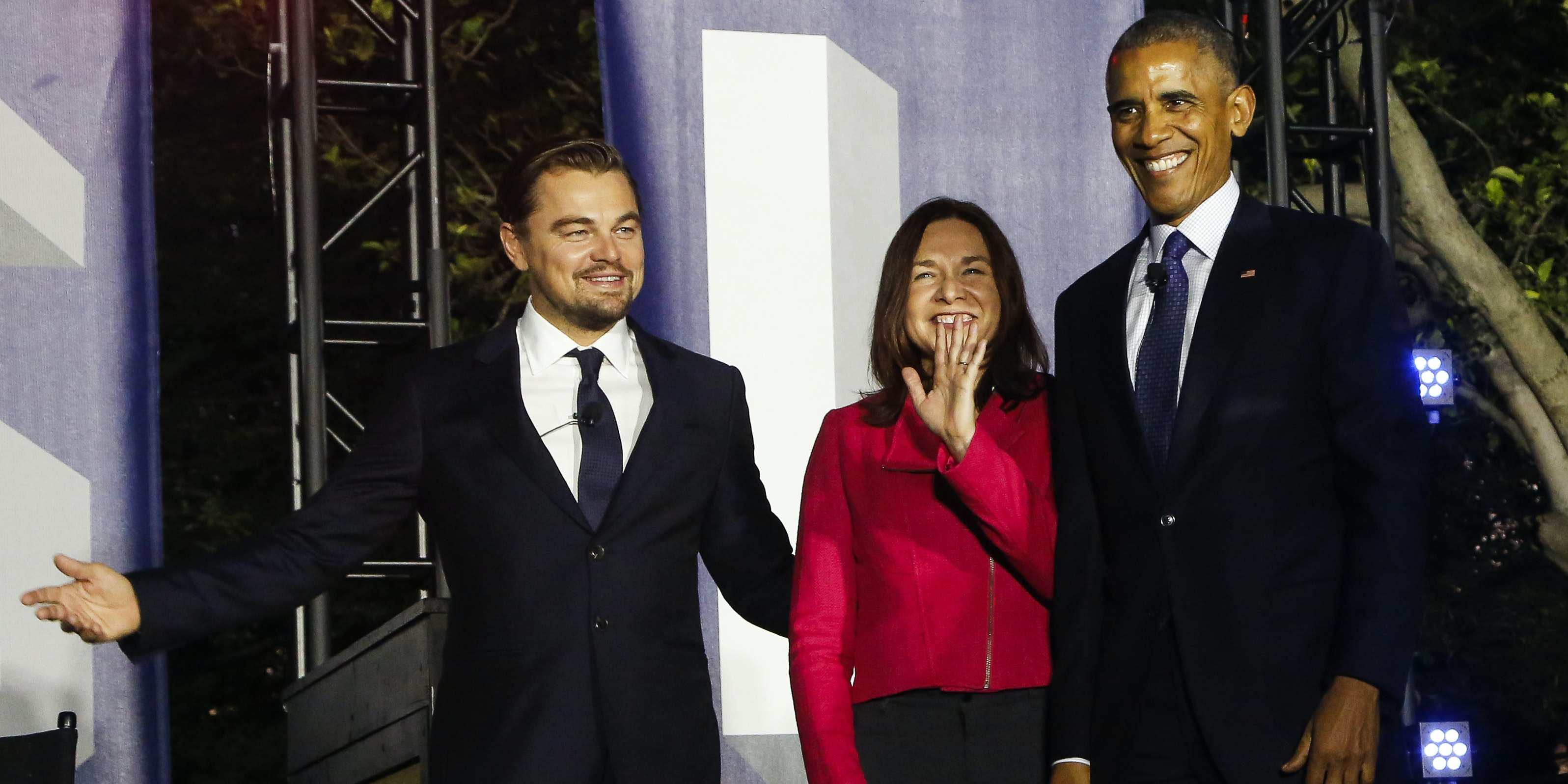 President Barack Obama, Leonardo DiCaprio and Dr. Katharine Hayhoe arrive at a panel discussion on climate change as part of the White House South by South Lawn event, in the South Lawn of the White House on October 3, 2016 in Washington DC.