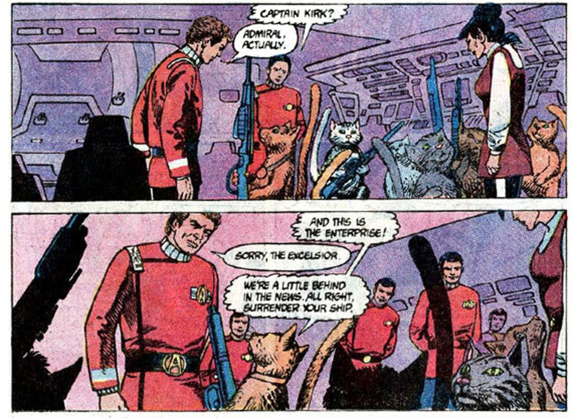 Back in 1985, Kirk was in command of the Excelsior ... and some talking cats invaded.