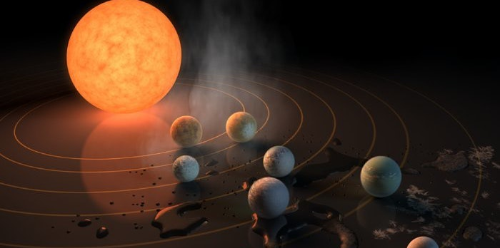 """Three of the seven planets orbiting TRAPPIST-1 are in the system's """"habitable zone,"""" meaning they might support liquid water."""