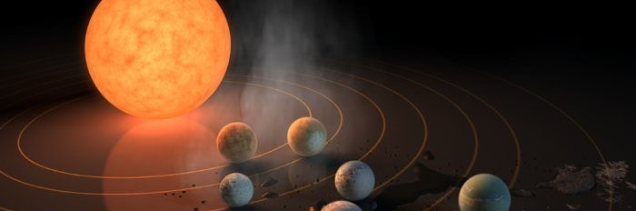 "Three of the seven planets orbiting TRAPPIST-1 are in the system's ""habitable zone,"" meaning they might support liquid water."