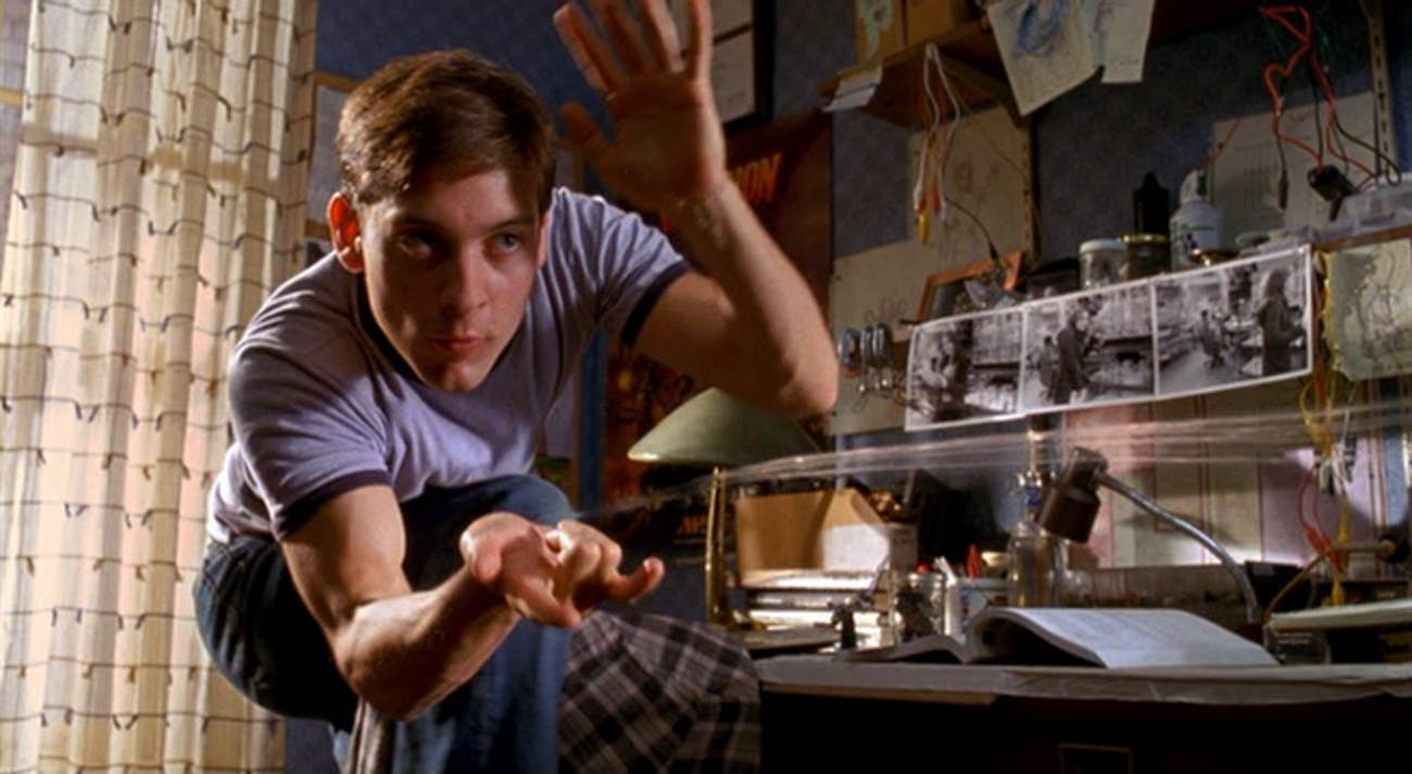 Tobey Maguire's version of Peter Parker developed organic web shooters.