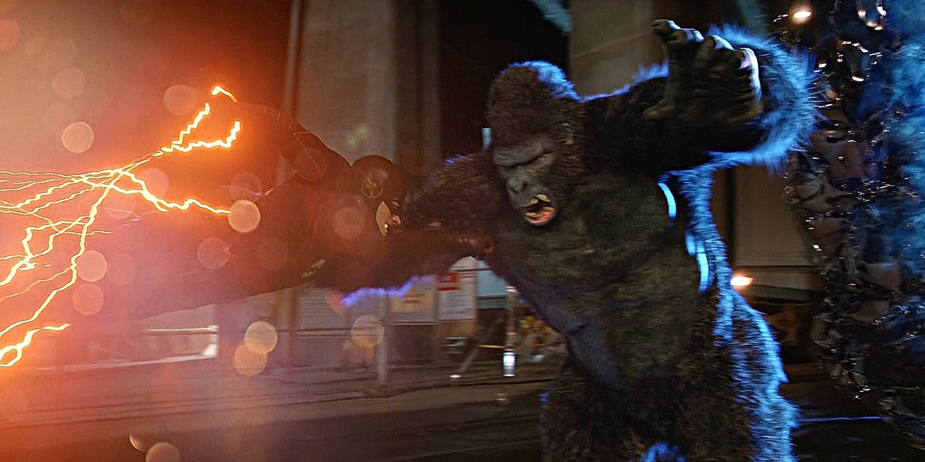 Flash (Grant Gustin) attacks Gorilla Grodd in Central City