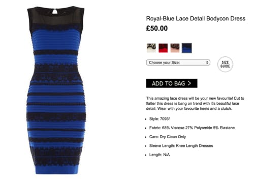 It turned out the optical illusion dress was really blue and back.