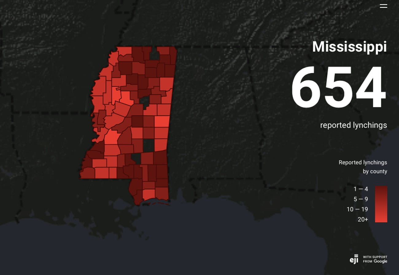 Google's New Map Illustrates the History of Lynchings in the ... on resources of mississippi, t-mobile map of mississippi, topographic map of mississippi, products of mississippi, google maps with county lines, map of louisiana and mississippi, features of mississippi, home of mississippi, information of mississippi, events of mississippi, physical map of mississippi, mississippi map of hazlehurst mississippi, map natchez mississippi, satellite map of mississippi, county map of mississippi, mapquest of mississippi, book of mississippi, map of hattiesburg mississippi, city of mississippi, map of southern mississippi,