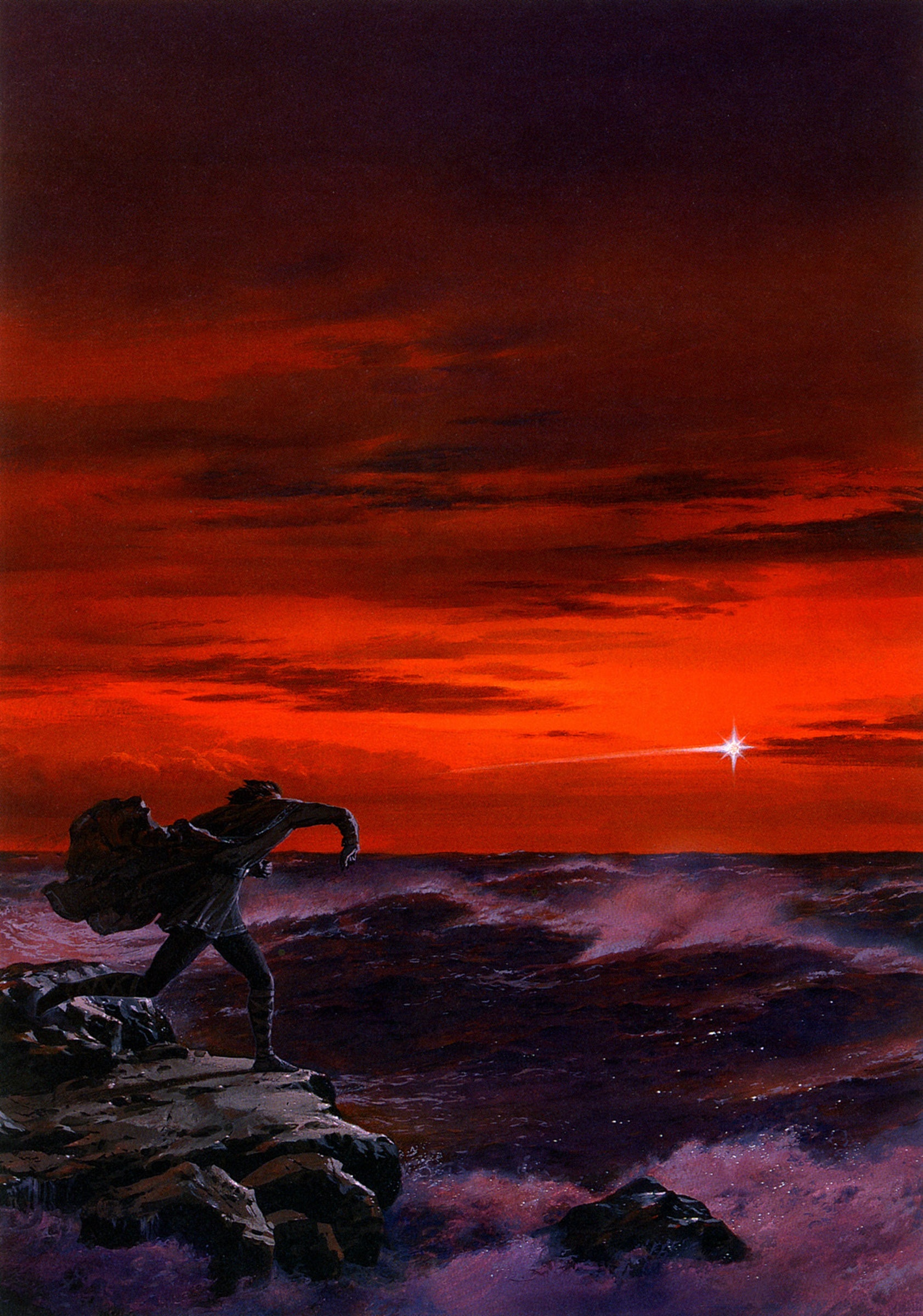 """""""Maglor casts a Silmaril into the sea"""" by Ted Nasmith."""