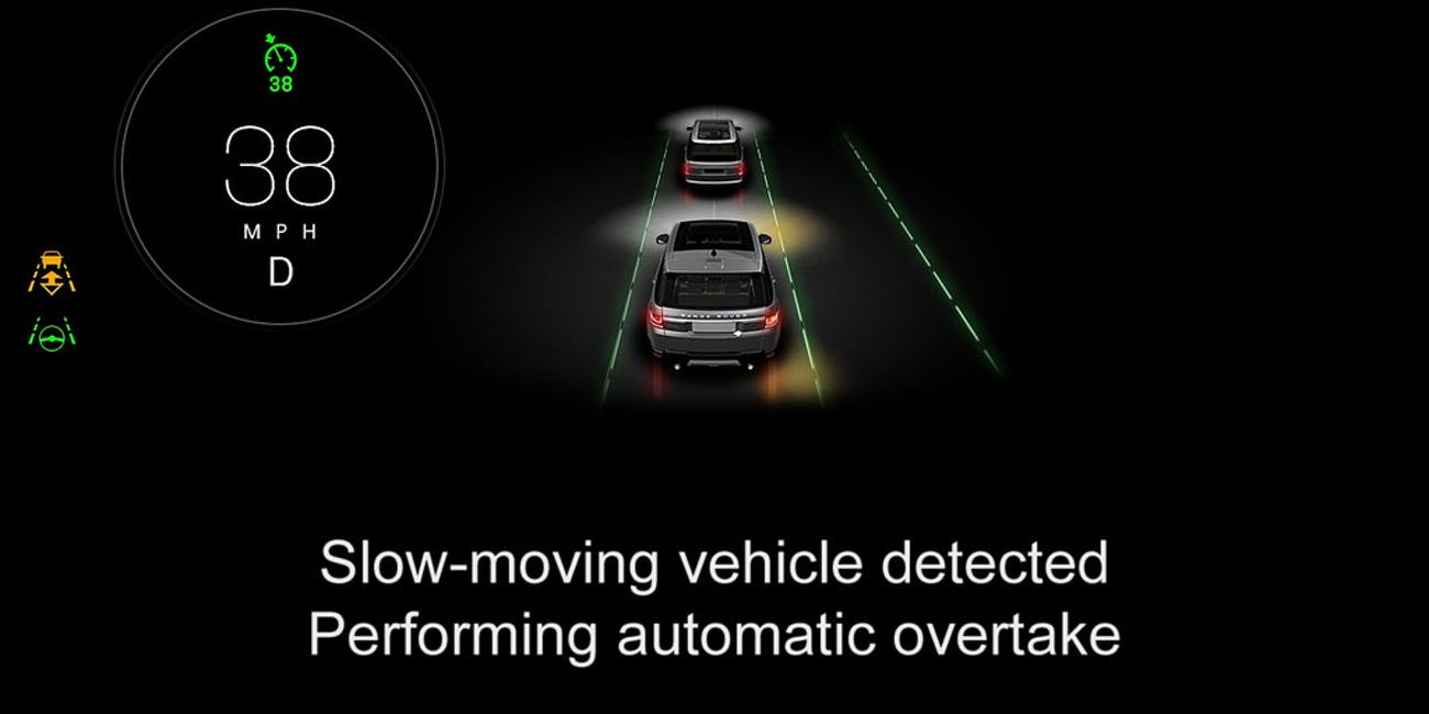 driverless car autonomous car system jaguar automatic overtake