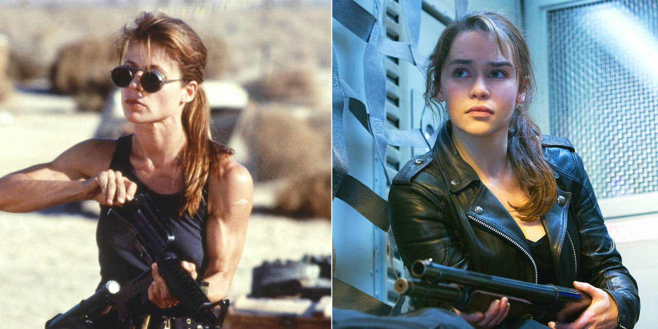Sarah Connor in 'Terminator 2: Judgement Day' and 'Terminator Genisys'.