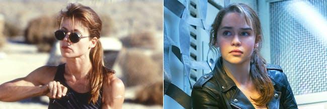 Sarah Connor in 'Terminator 2: Judgement Day' and 'Terminator Genisys'.
