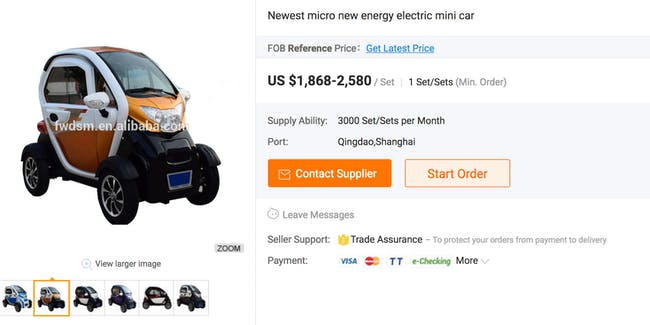 Alibaba microcar China sales small car electric minicar