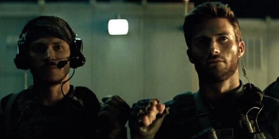 Scott Easwood (right) as Lt. GQ Edwards in 'Suicide Squad'