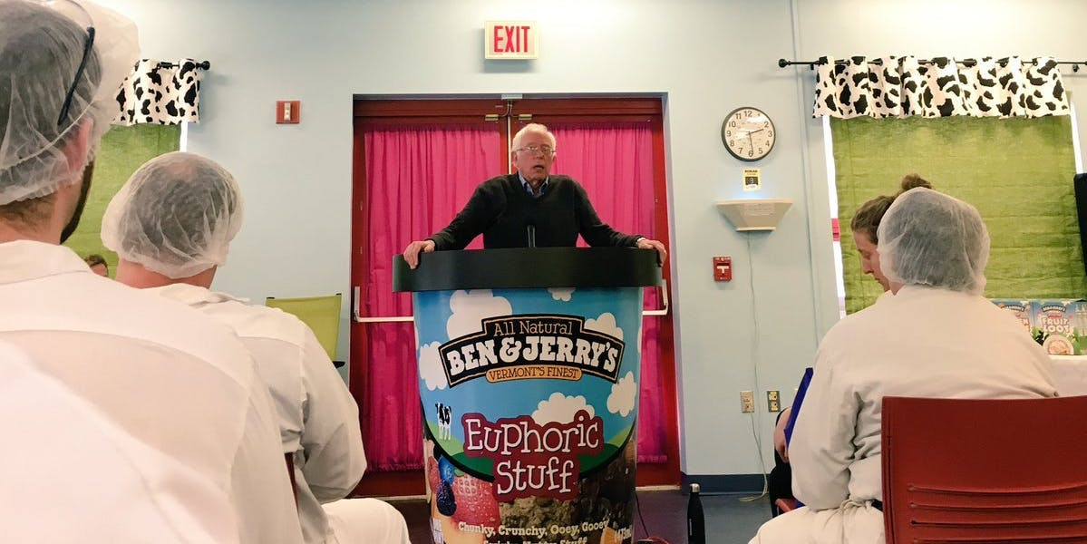 Bernie Sanders spoke at the Ben and Jerry's factory from a giant ice cream carton.