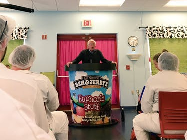 Here, Internet: Bernie Sanders at a Giant Ben & Jerry's Podium