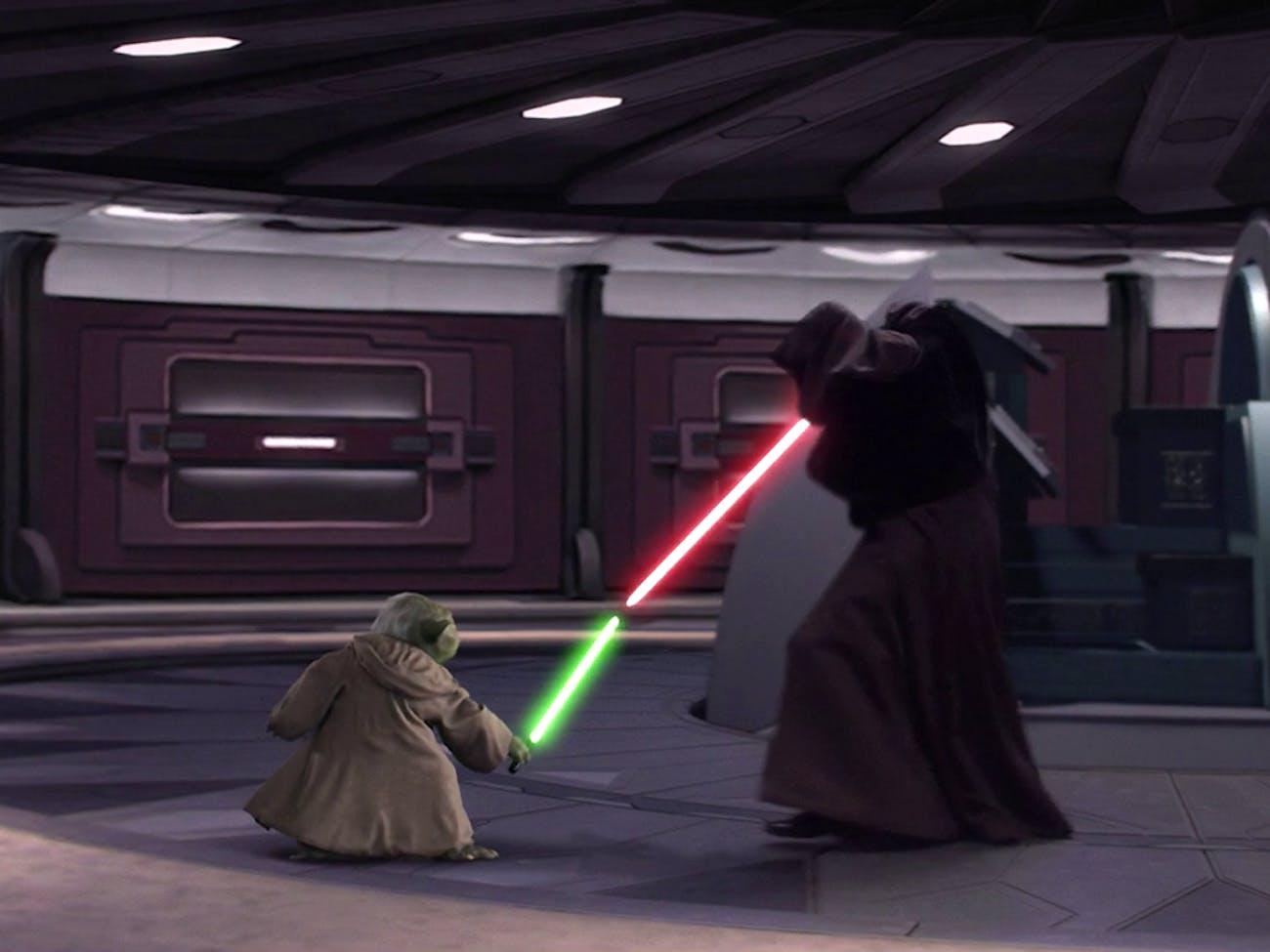 Resultado de imagem para star wars episode 3 yoda vs palpatine