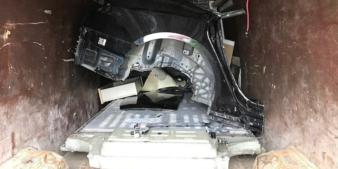 Tesla found in back of truck going to Lithuania.