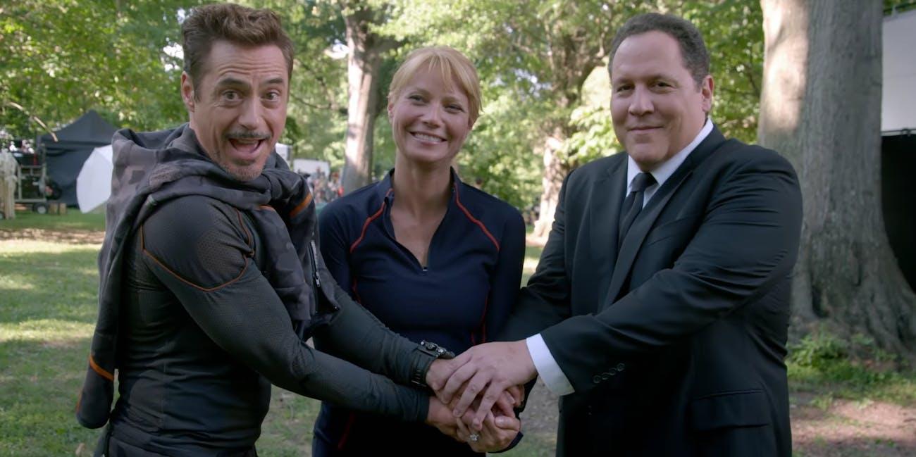Robert Downey Jr., Gwyneth Paltrow, Jon Favreau in 'Infinity War'