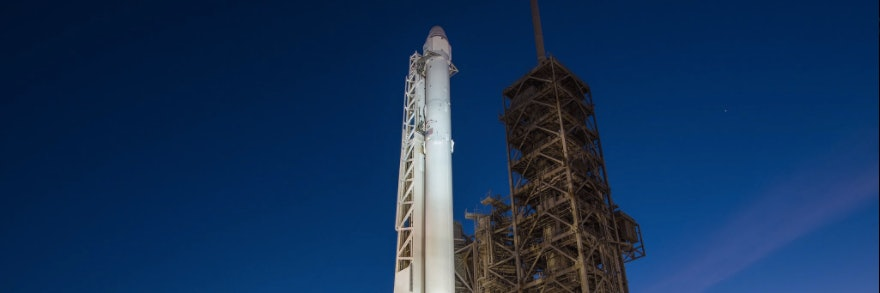Falcon 9 rocket at SpaceX's new launch pad at Kennedy Space Center.