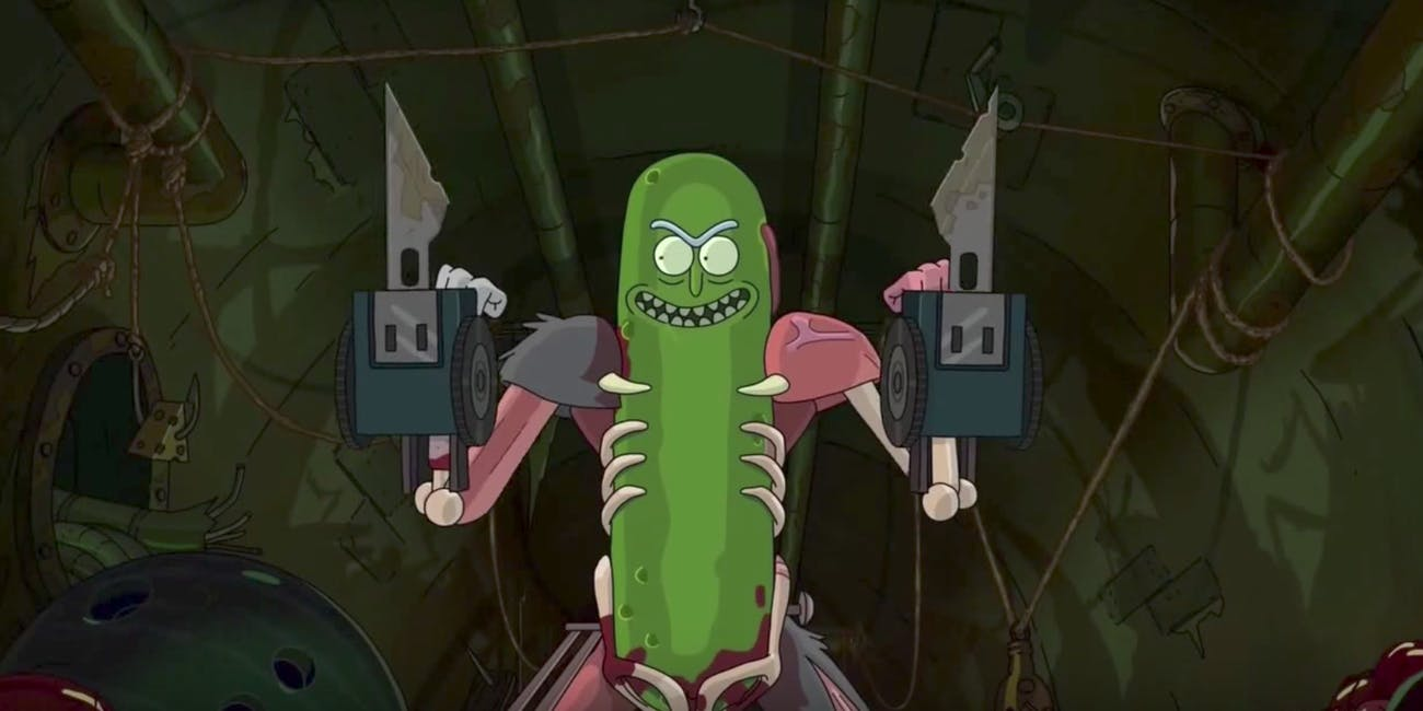 Pickle Rick wields some pretty gnarly weapons in this grisly battle.