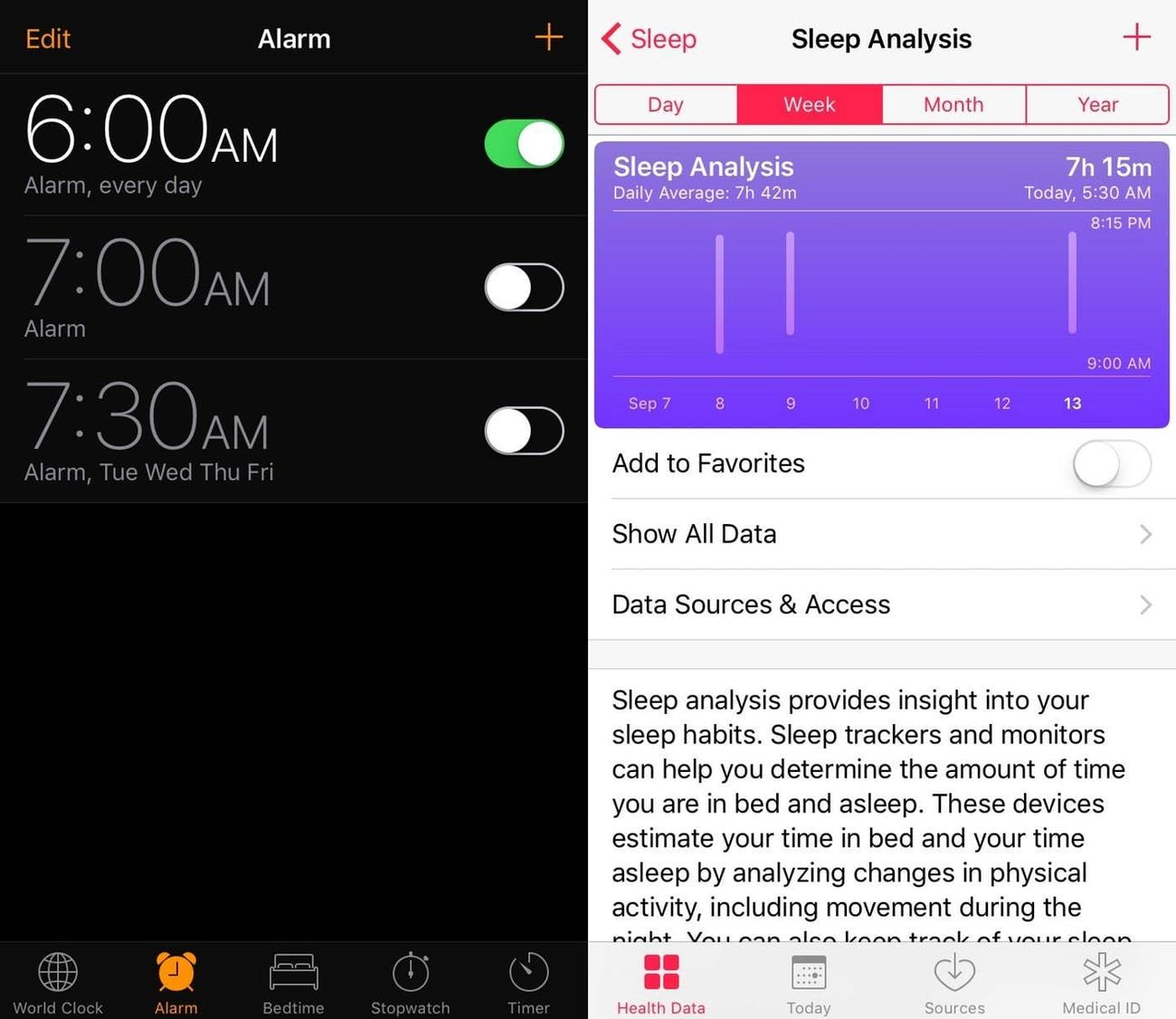 Screenshots explain how the Bedtime feature in iOS 10 works.