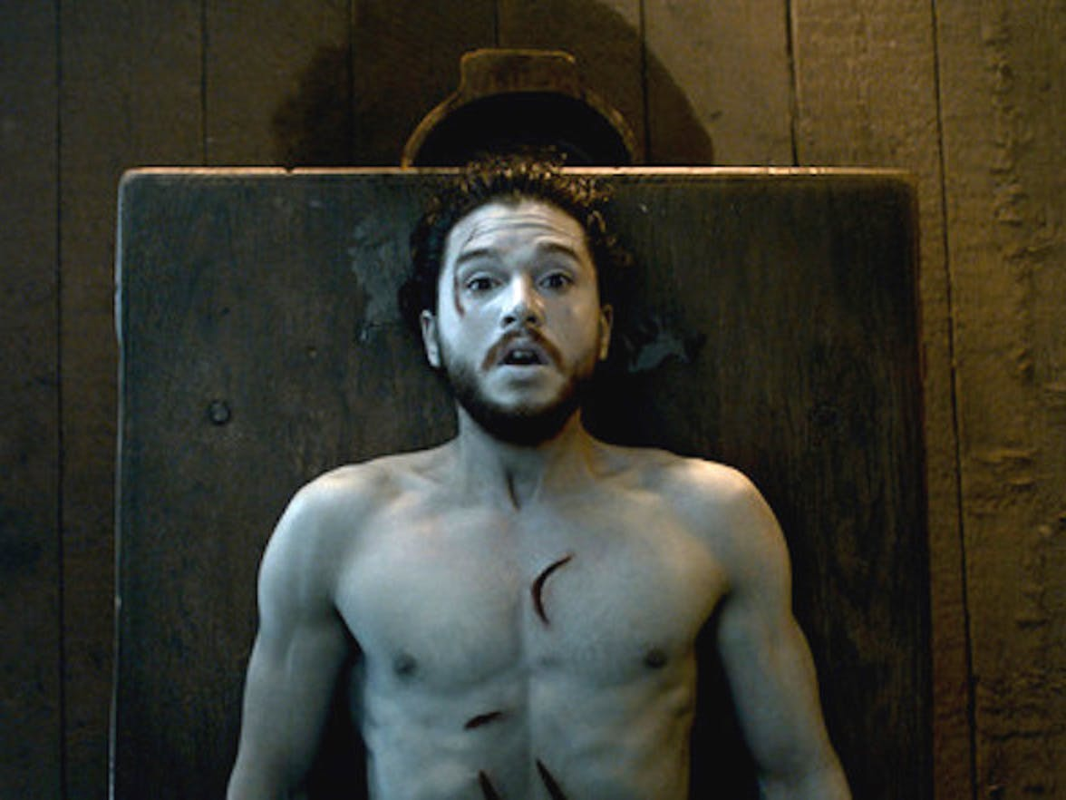 jon snow kit harrington game of thrones got naked table resurrected dead brought back to life