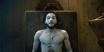 jon snow kit harrington game of thrones got naked table resurrected dead brought back to life