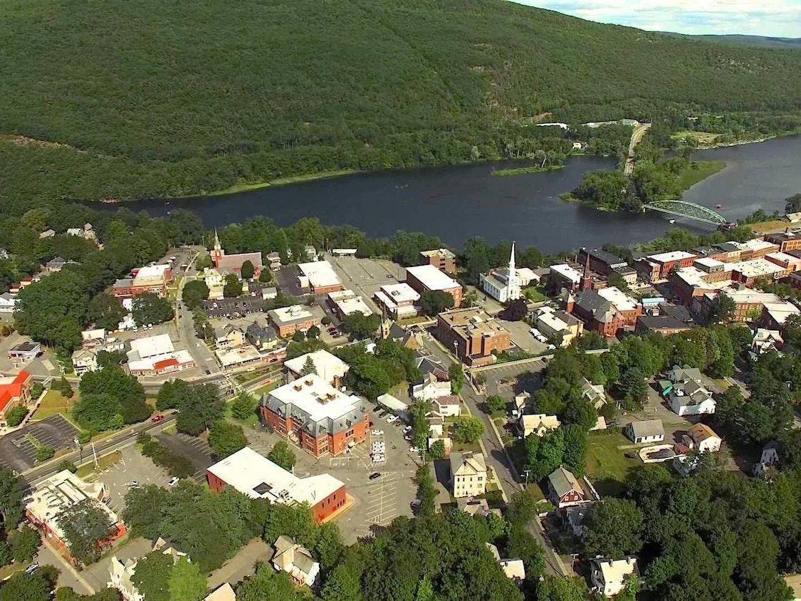 The not-so-plat-like Brattleboro, Vermont.