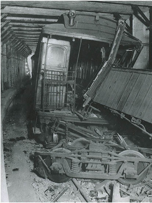 The aftermath of Brooklyn Rapid Transit's 1918 Malbone Street Wreck.