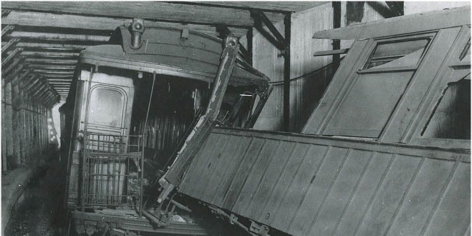 The aftermath of Brooklyn Rapid Transit's 1918 Malbone Street Wreck.