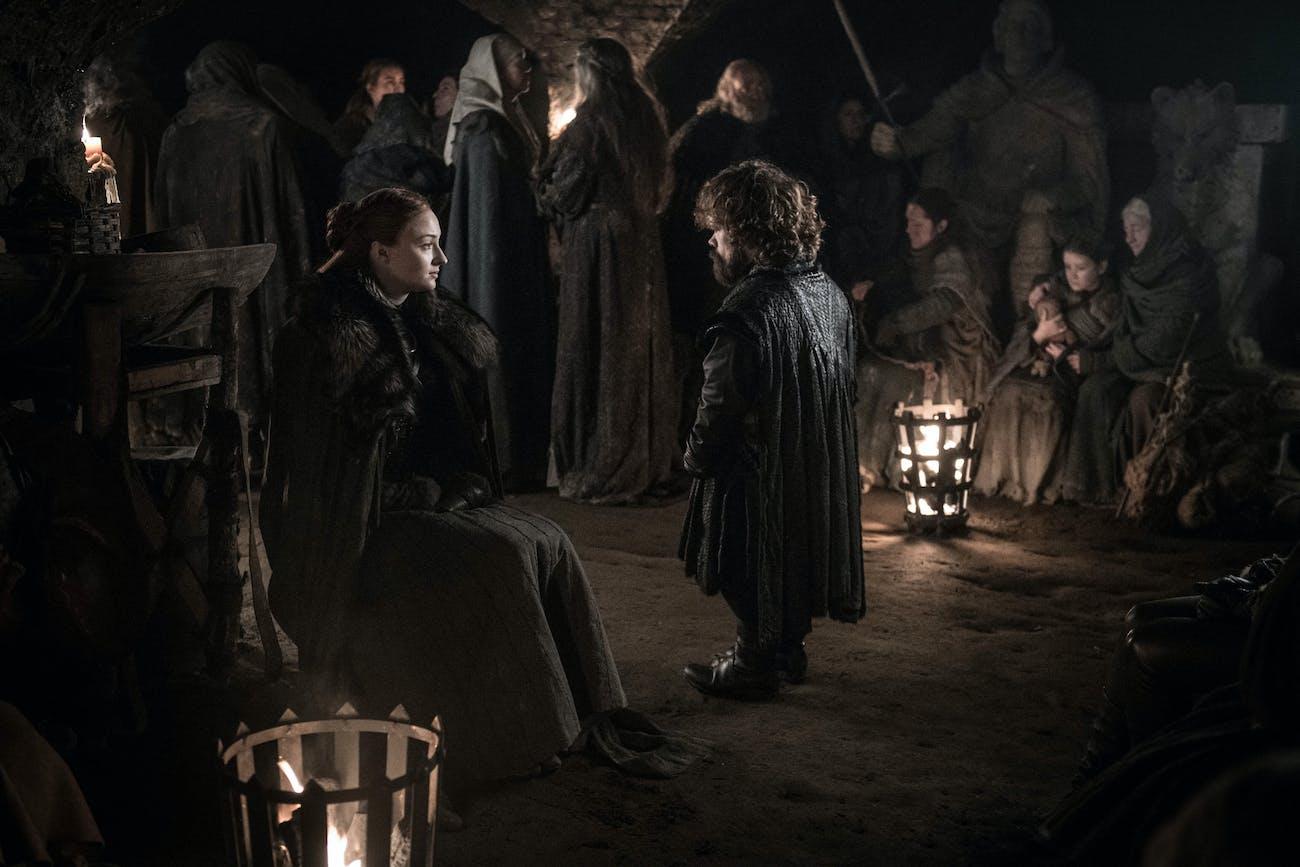 Sophie Turner and Peter Dinklage in Season 8, Episode 3 of 'Game of Thrones'.