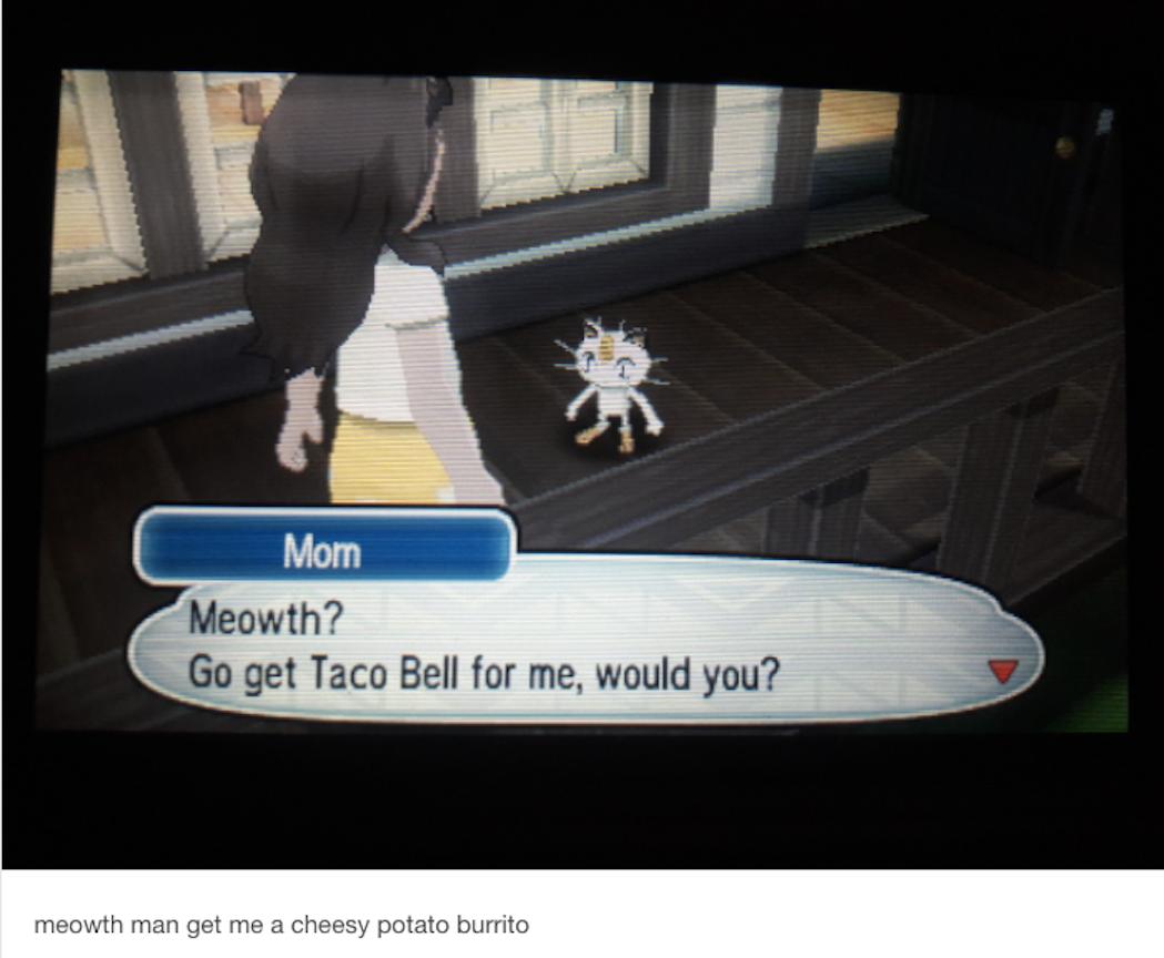 pokemon meme taco bell meowth