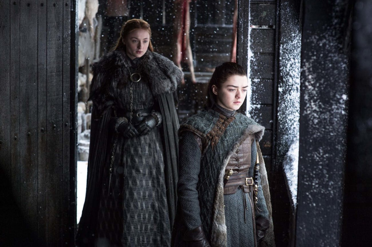 """Maisie Williams and Sophie Turner in 'Game of Thrones' Season 7 episode 6, """"Beyond the Wall"""""""