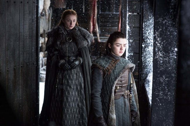 "Maisie Williams and Sophie Turner in 'Game of Thrones' Season 7 episode 6, ""Beyond the Wall"""