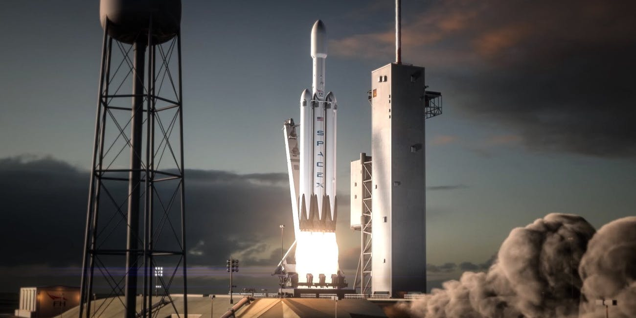 SpaceX falcon heavy blastoff rocket launch