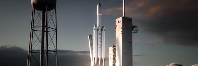SpaceX falcon heavy blastoff rocket launch