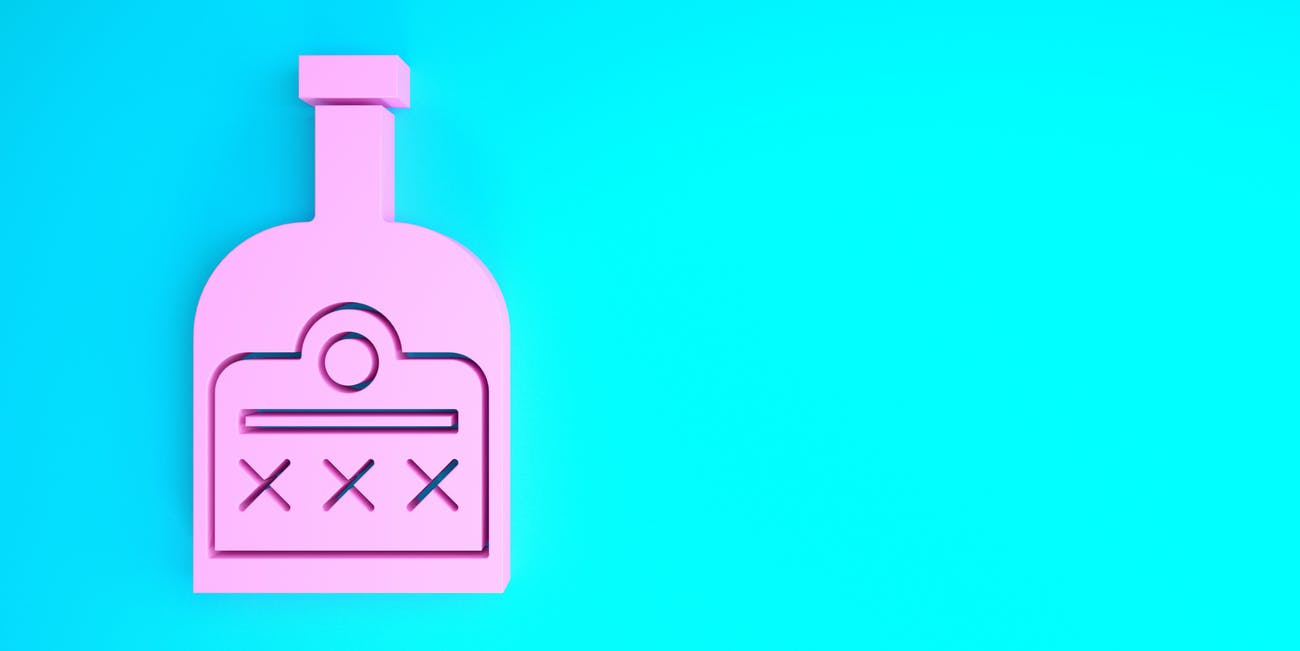 Pink Alcohol drink Rum bottle icon isolated on blue background