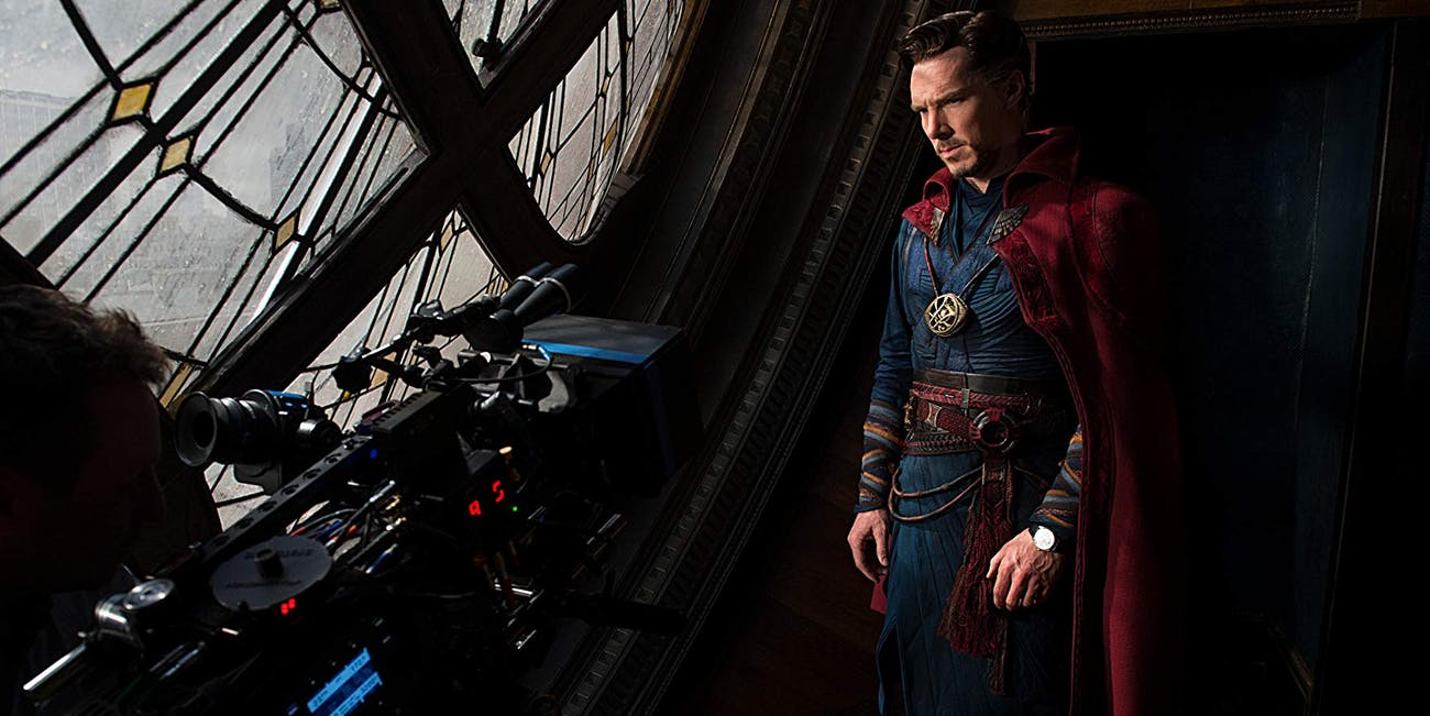 Benedict Cumberbatch in costume as Doctor Strange on the set of 'Doctor Strange'