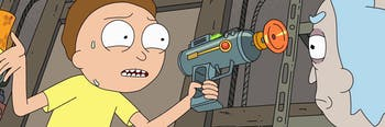 Was it Morty in the Garage with a Laser Blaster?