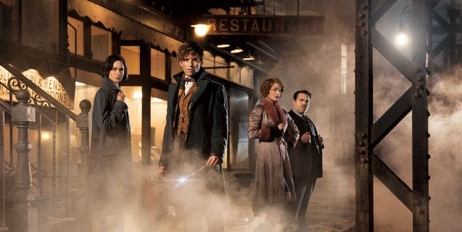Eddie Redmayne as Newt Scamander and the cast of 'Fantastic Beasts and Where to Find Them'