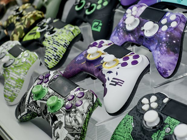 SCUF controllers on display at CWL Dallas.